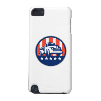 Vintage Pick Up Truck USA Flag Circle Retro iPod Touch (5th Generation) Cases