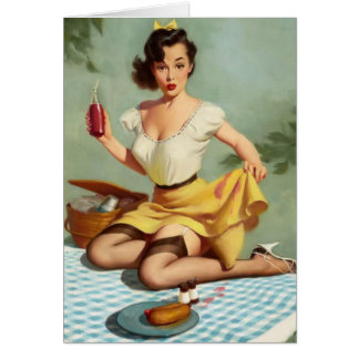 Vintage Picnic Pinup Birthday Card