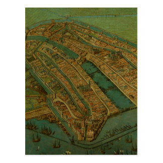 Vintage Pictorial Map of Amsterdam (1538) Postcard