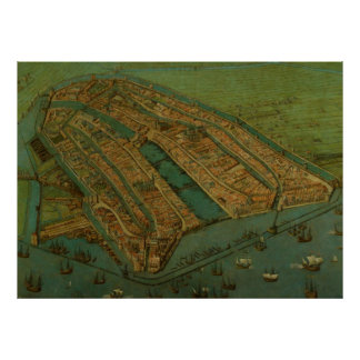 Vintage Pictorial Map of Amsterdam (1538) Poster