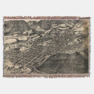 Vintage Pictorial Map of Aspen Colorado (1893) Throw Blanket