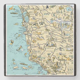 Vintage Pictorial Map of California Stone Coaster