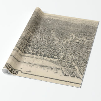 Vintage Pictorial Map of Chicago (1916) Wrapping Paper