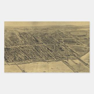 Vintage Pictorial Map of Coney Island (1906) Rectangular Sticker