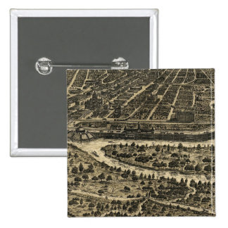 Vintage Pictorial Map of Dallas Texas 1892 Button