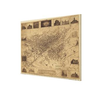 Vintage Pictorial Map of Denver CO (1881) Canvas Print