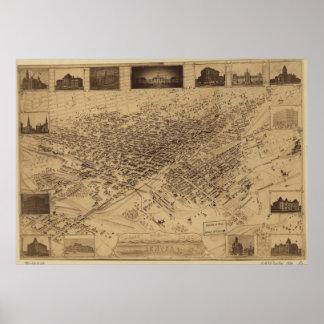 Vintage Pictorial Map of Denver CO (1881) Poster