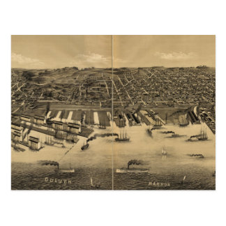 Vintage Pictorial Map of Duluth Minnesota (1887) Postcard