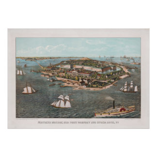 Vintage Pictorial Map of Fort Monroe Virginia Poster