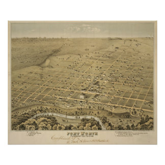 Vintage Pictorial Map of Fort Worth Texas (1876) Poster