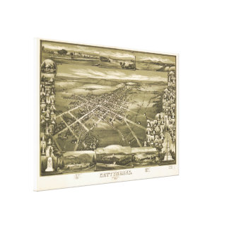 Vintage Pictorial Map of Gettysburg PA (1888) Canvas Print