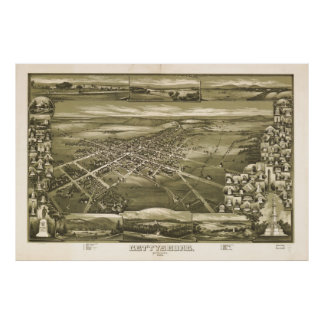 Vintage Pictorial Map of Gettysburg PA (1888) Poster