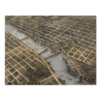 Vintage Pictorial Map of Grand Rapids (1868) Postcard