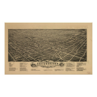 Vintage Pictorial Map of Greensboro NC (1891) Poster