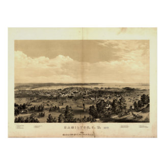Vintage Pictorial Map of Hamilton Ontario (1859) Poster