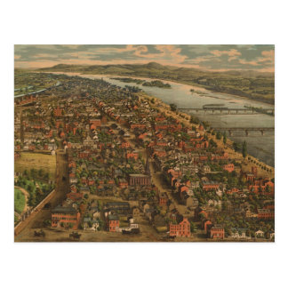 Vintage Pictorial Map of Harrisburg PA (1855) Postcard