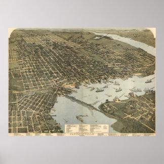 Vintage Pictorial Map of Jacksonville FL (1893) Poster