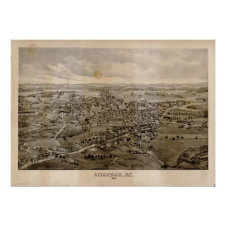 Vintage Pictorial Map of Kennebunk Maine (1895) Poster