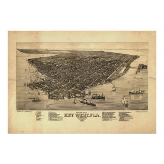 Vintage Pictorial Map of Key West FL (1884) Poster
