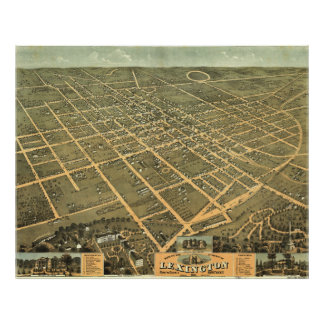 Vintage Pictorial Map of Lexington Kentucky (1871) Poster