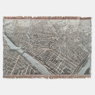 Vintage Pictorial Map of Lowell MA (1876) Throw Blanket