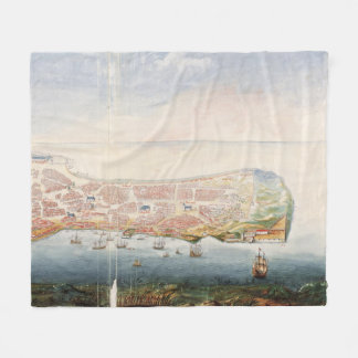 Vintage Pictorial Map of Macau China (1665) Fleece Blanket