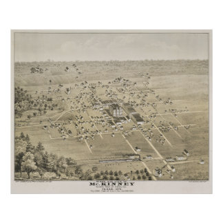 Vintage Pictorial Map of McKinney Texas (1876) Poster