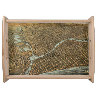 Vintage Pictorial Map of Milwaukee (1872) Serving Tray