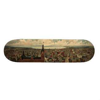 Vintage Pictorial Map of Milwaukee WI (1898) 21.6 Cm Skateboard Deck