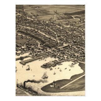 Vintage Pictorial Map of Nantucket (1881) Postcard