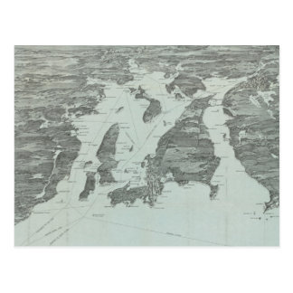 Vintage Pictorial Map of Narragansett Bay (1907) Postcard