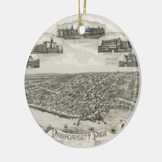 Vintage Pictorial Map of Narragansett RI (1888) Ceramic Ornament