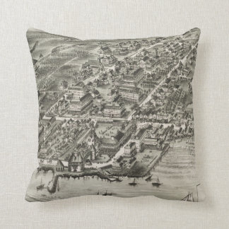 Vintage Pictorial Map of Narragansett RI (1888) Cushion
