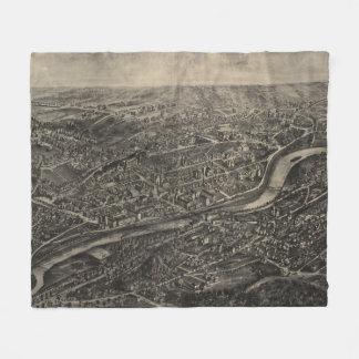Vintage Pictorial Map of Naugatuck CT (1906) Fleece Blanket