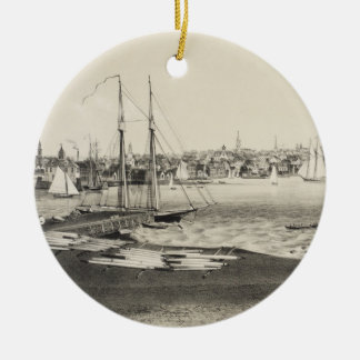 Vintage Pictorial Map of Newport RI (1860) Ceramic Ornament