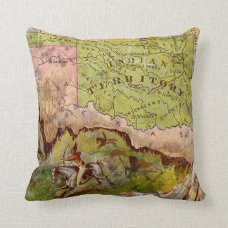 Vintage Pictorial Map of Oklahoma Indian Territory Cushion