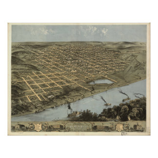 Vintage Pictorial Map of Omaha Nebraska (1868) Poster