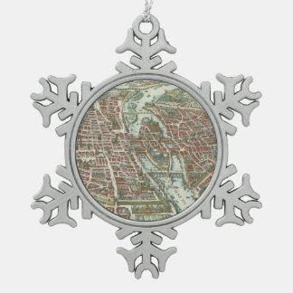 Vintage Pictorial Map of Paris (1615) Pewter Snowflake Decoration