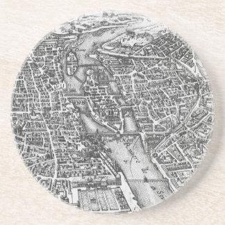 Vintage Pictorial Map of Paris (17th Century) Drink Coasters