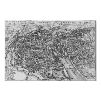 Vintage Pictorial Map of Paris 17th Century Poster