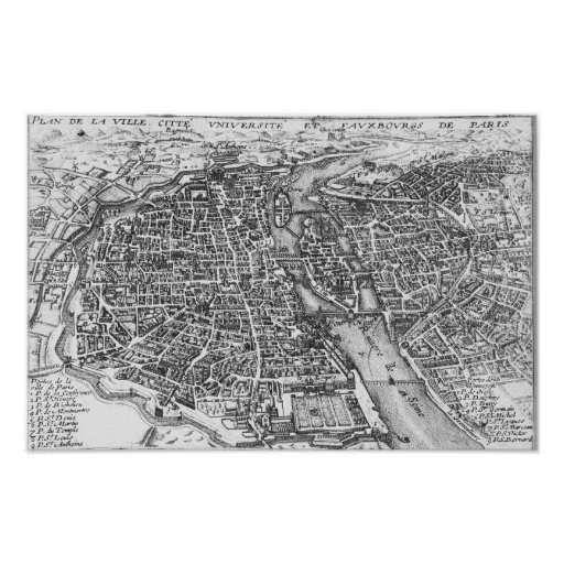 Vintage Pictorial Map of Paris (17th Century) Poster