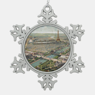 Vintage Pictorial Map of Paris (1900) Pewter Snowflake Decoration