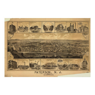 Vintage Pictorial Map of Paterson NJ (1880) Poster