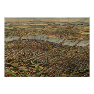 Vintage Pictorial Map of Portland Oregon (1890) Poster