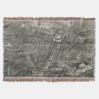 Vintage Pictorial Map of Providence RI (1882) Throw Blanket