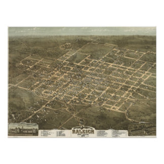 Vintage Pictorial Map of Raleigh NC (1872) Poster