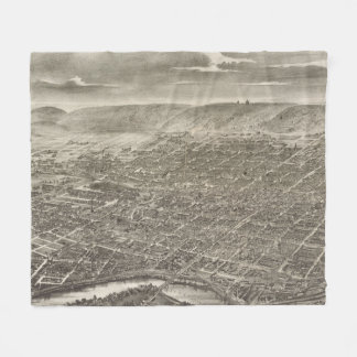 Vintage Pictorial Map of Reading PA (1898) Fleece Blanket
