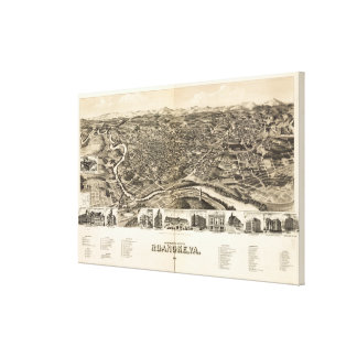 Vintage Pictorial Map of Roanoke Virginia (1891) Canvas Print