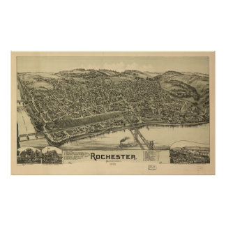 Vintage Pictorial Map of Rochester PA (1900) Poster