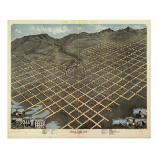 Vintage Pictorial Map of Salt Lake City (1870) Poster